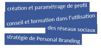 Présence Web & SMO : création et paramétrage de profil ; conseil et formation dans l'utilisation des réseaux sociaux ; stratégie de Personal Branding